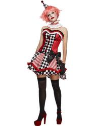 Fever Deluxe Clown Cutie Ladies Fancy Dress Circus Carnival Womens Adult Costume