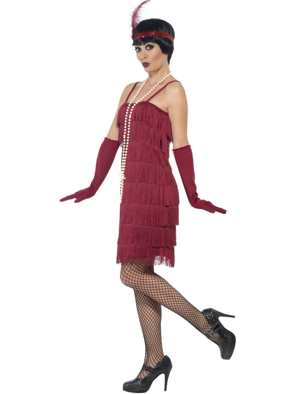 Burgundy Flapper Fancy Dress All Ladies Costumes Mega