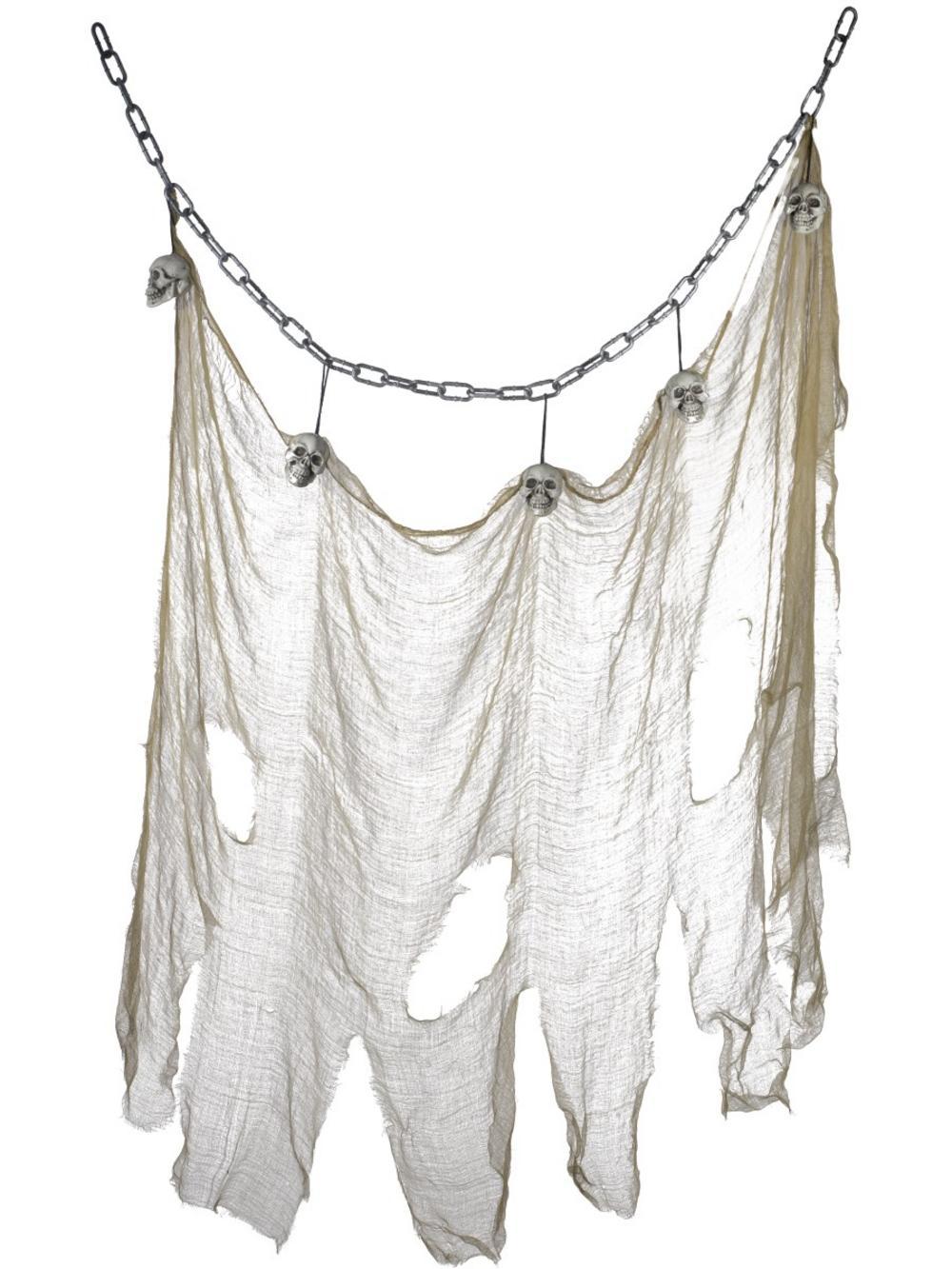 Hanging Skull & Muslin Chain Decoration
