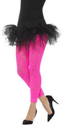 Pink 80s Lace Ladies Leggings