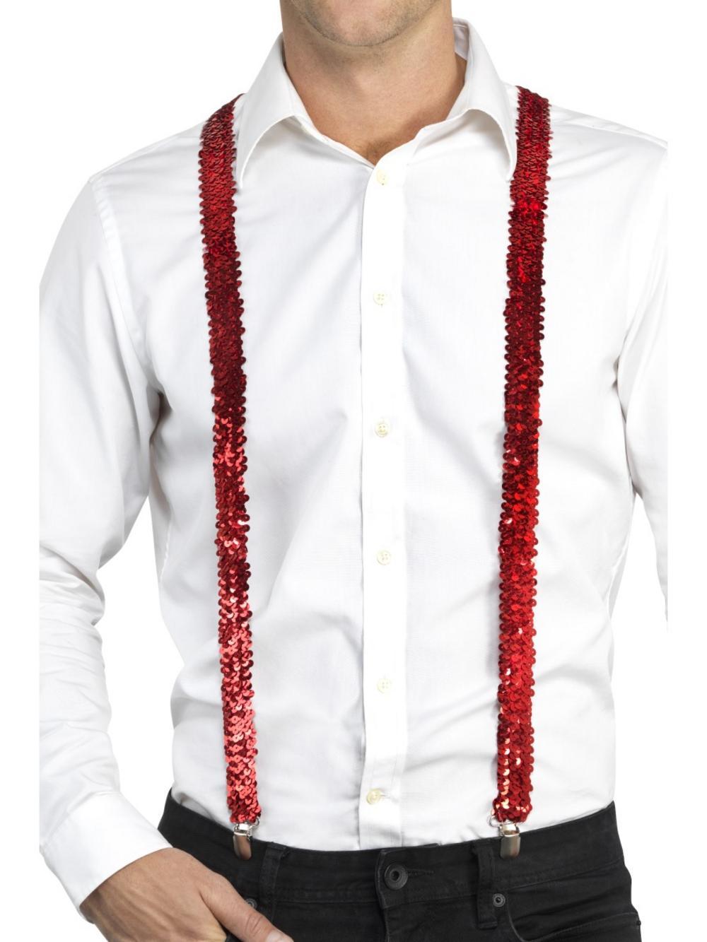 Sequin Braces Red