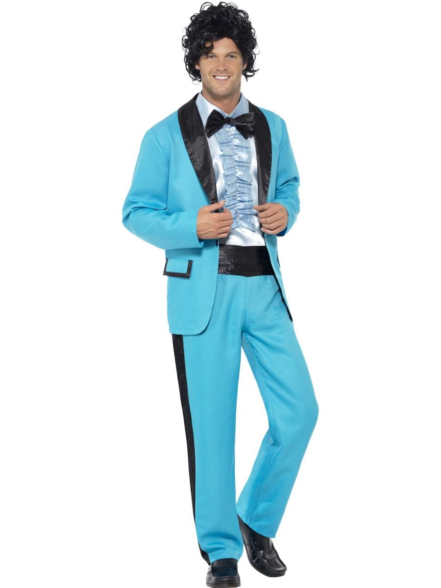 80s Prom King Mens Fancy Dress 1980s Disco High School Tuxedo Suit ...