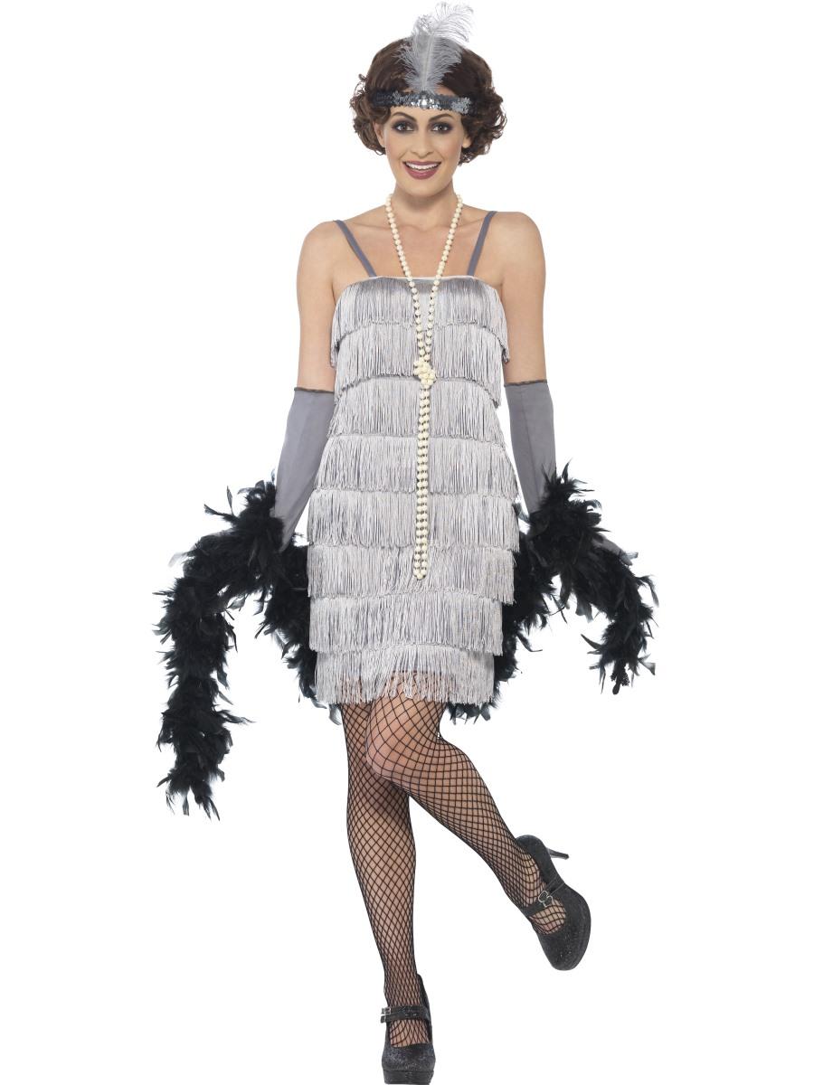 silver flapper girl ladies fancy dress 1920s 20s charleston womens