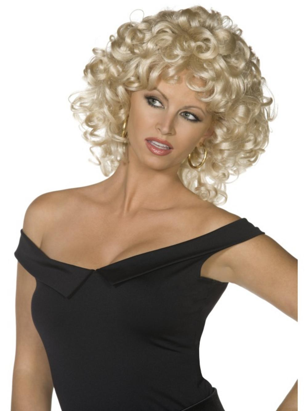 Grease Sandy Blonde Curly Wig 50s Accessories Mega