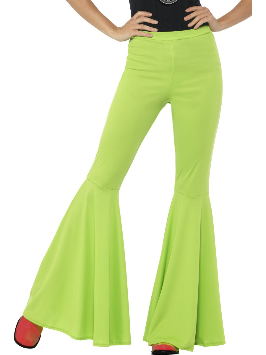 c94316e05b35 Sentinel Green Flared Trousers Ladies 60s Neon Flares Hippy Disco Adult  Women Fancy Dress