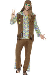 60's Hippie Costume, with Trousers, Top, Waistcoat