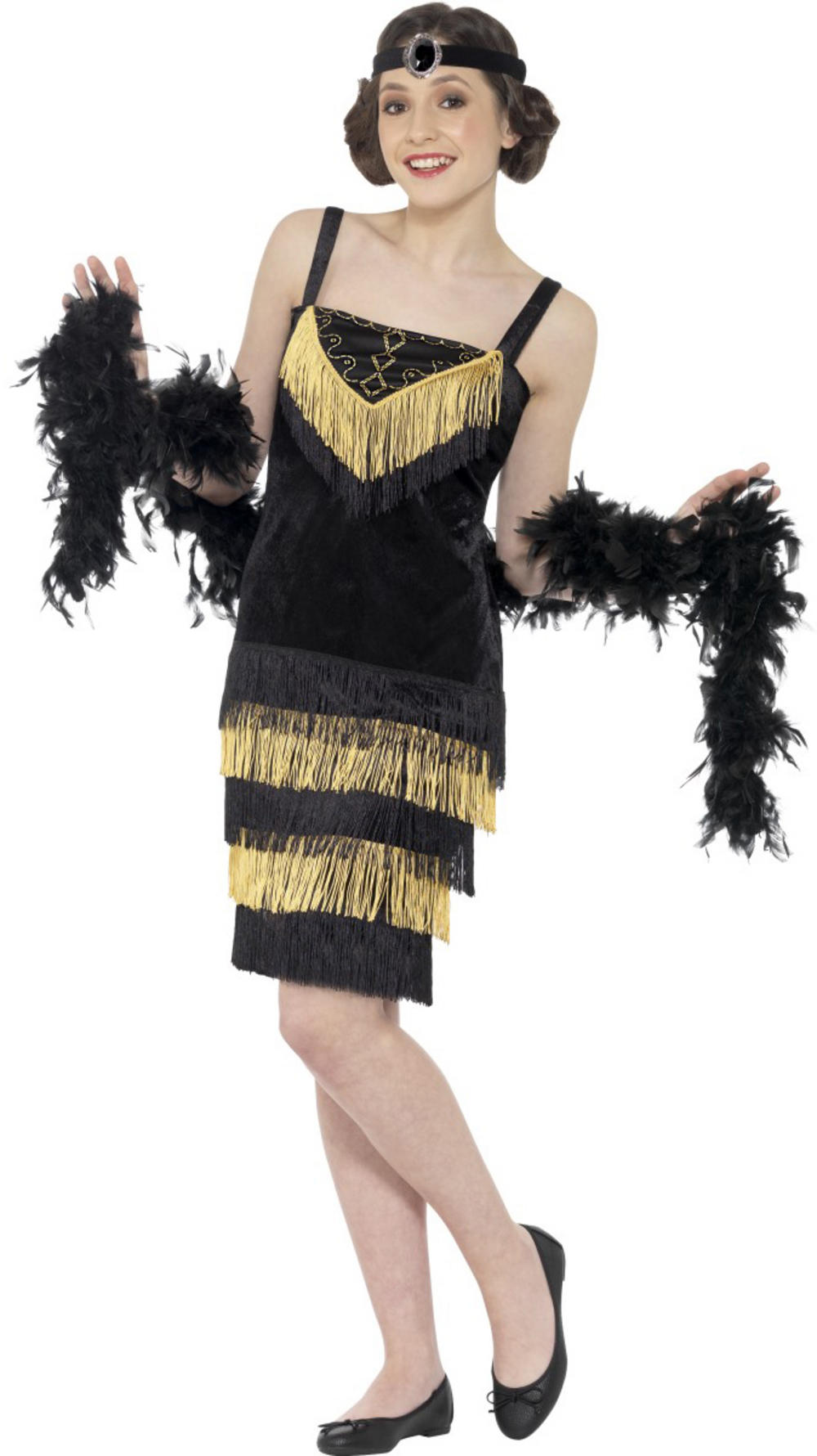 Black and Gold Flapper Girl Teens Costume