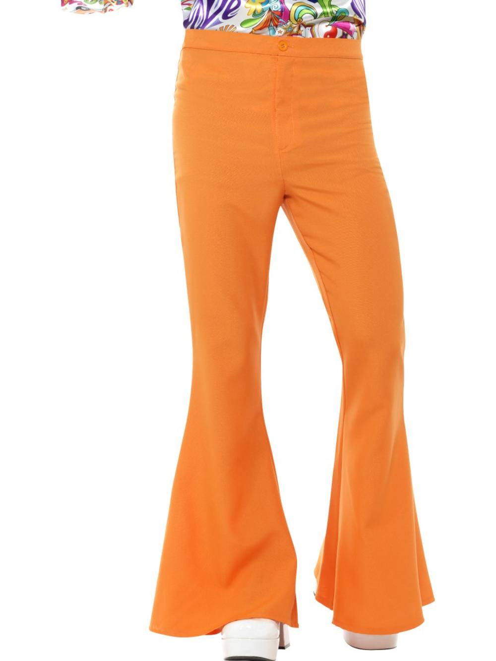 Orange Flared Trousers Mens