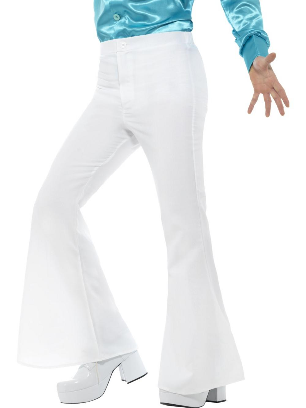 White Flared Trousers Mens