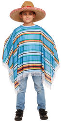 Blue Poncho Kids Costume