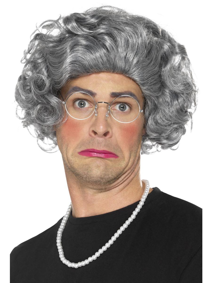 Sentinel Granny Wig Glasses Necklace Set Old Lady Fancy Dress Adults Womens  Costume Kit ba428a8f8c