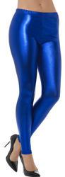 80's Metallic Disco Leggings Blue Ladies Costume Accessory