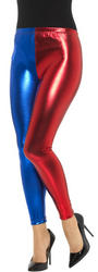 Harlequin Leggings Metallic Red and Blue Ladies Costume Accessory