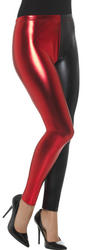 Harlequin Leggings Metallic Red and Black Ladies Costume Accessory