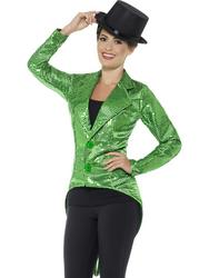 Green Sequin Tailcoat Jacket Ladies