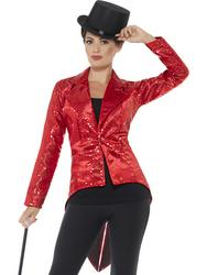 Red Sequin Tailcoat Jacket Ladies