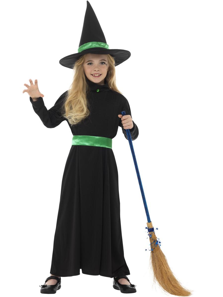 Wicked Witch Girls Fancy Dress Spooky Scary Halloween Kids Childrens
