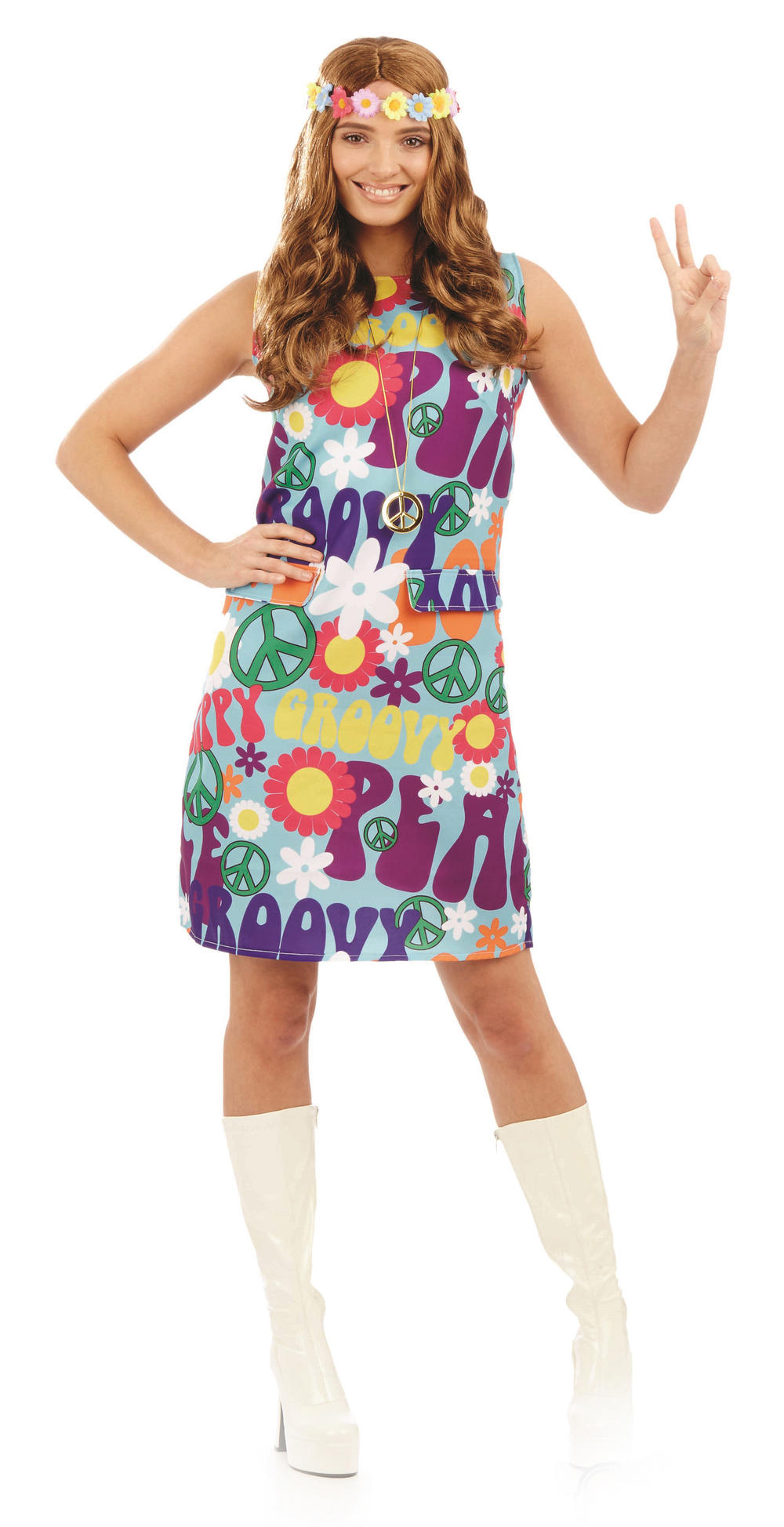 Groovy Hippie Ladies Fancy Dress Costume