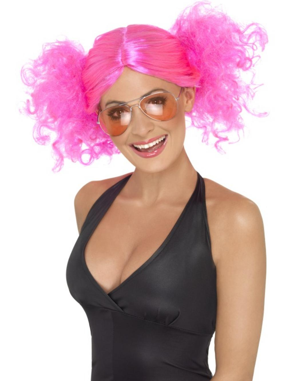 80s Pink Bunches Wig Ladies Fancy Dress Wigs Mega