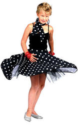 Girls Black 50s Rock N Roll Costume