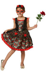 Red Rose Day of the Dead Kids Costume