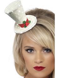 White Christmas Mini Top Hat