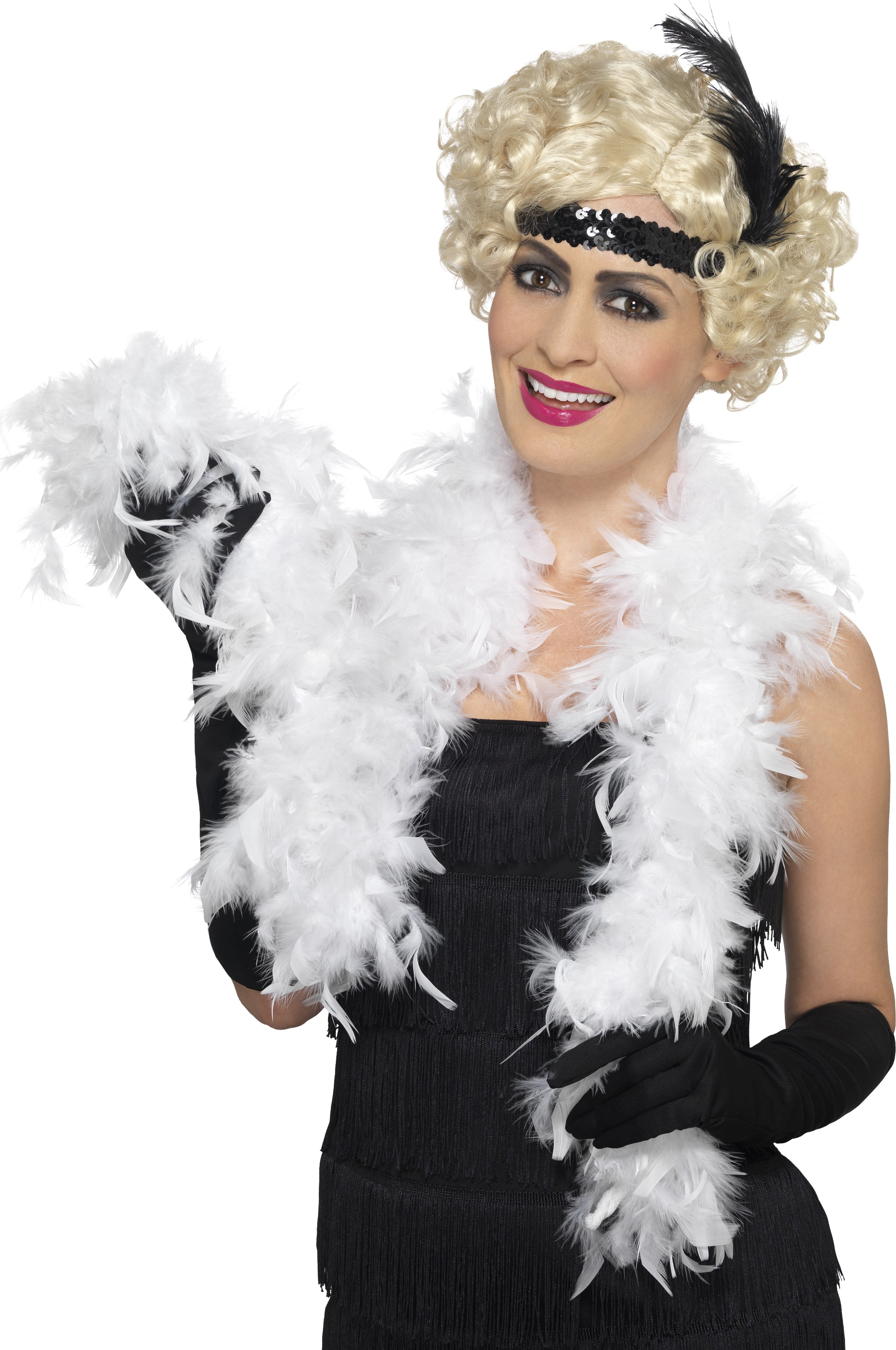 White Gangster Scarf 1920s Fancy Dress Accessory