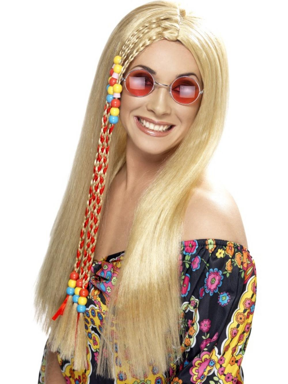 60s Long Blonde Hippie Wig