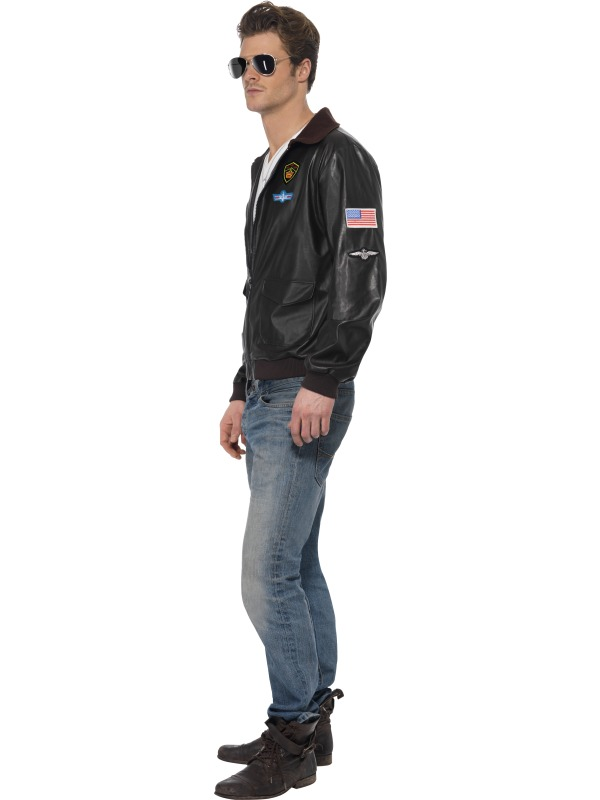 Men's Top Gun Bomber Jacket Fancy Dress Costume 1980s Adult Outfit ...