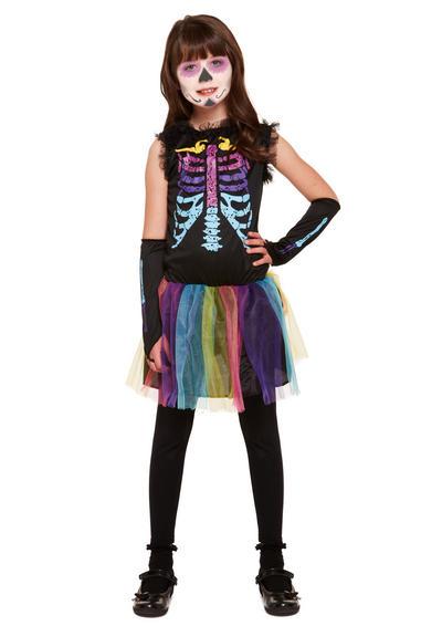 Multicolour Skeleton Kids Costume