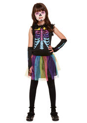 Multicolour Skeleton Kid's Costume