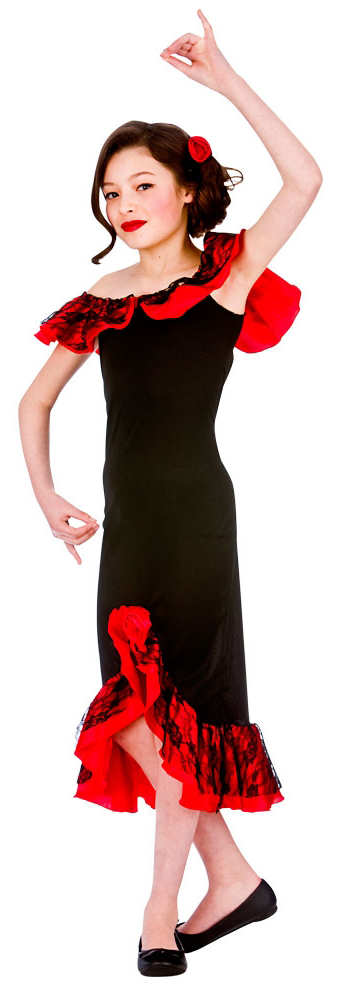 Spanish Senorita Girls Fancy Dress National Dancer Spain Kid
