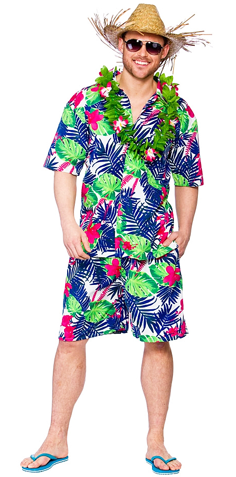 0d33ff09455 Details about Hawaiian Funky Leaf Mens Fancy Dress Summer Beach Party  Tropical Adults Costume