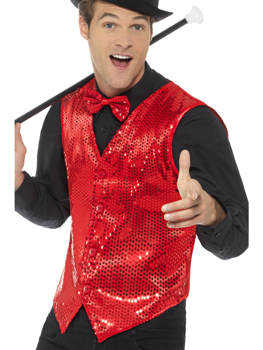 Sequin Waistcoat Fancy Dress Cabaret Adults Costume Accessory Mens Carnival