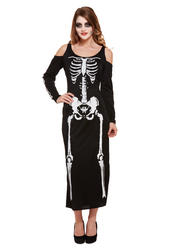Skeleton Long Ladies Costume