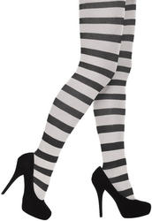 Black & White Striped Tights Ladies Costume Accessory