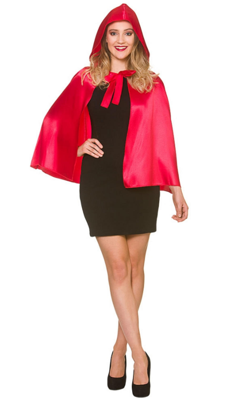 Short Hooded Satin Cape Ladies Accessory