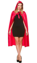Long Hooded Satin Cape Ladies Accessory