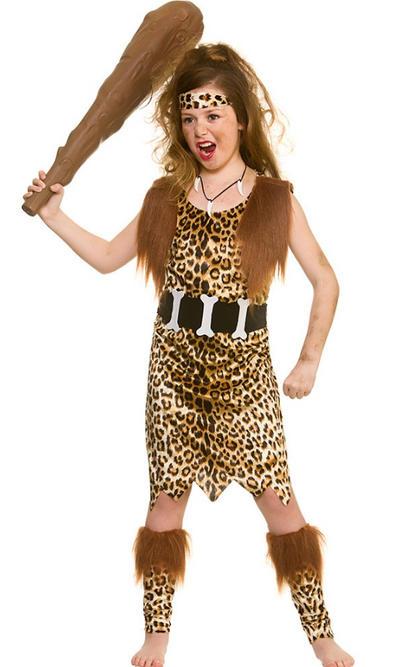 Stone Age Cave Girl Kids Costume