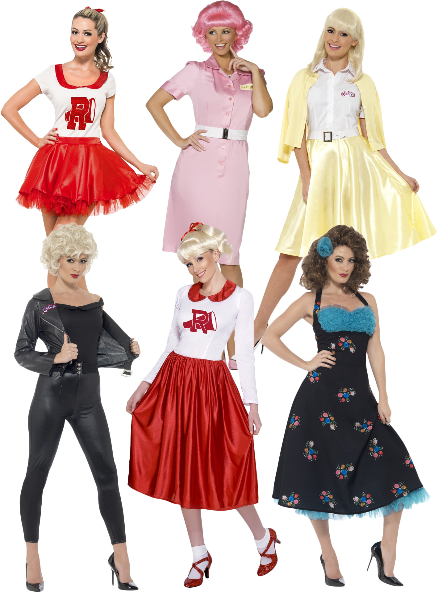 Details about Grease Ladies Fancy Dress 1950s Musical Film Rock n Roll  Womens Adults Costumes
