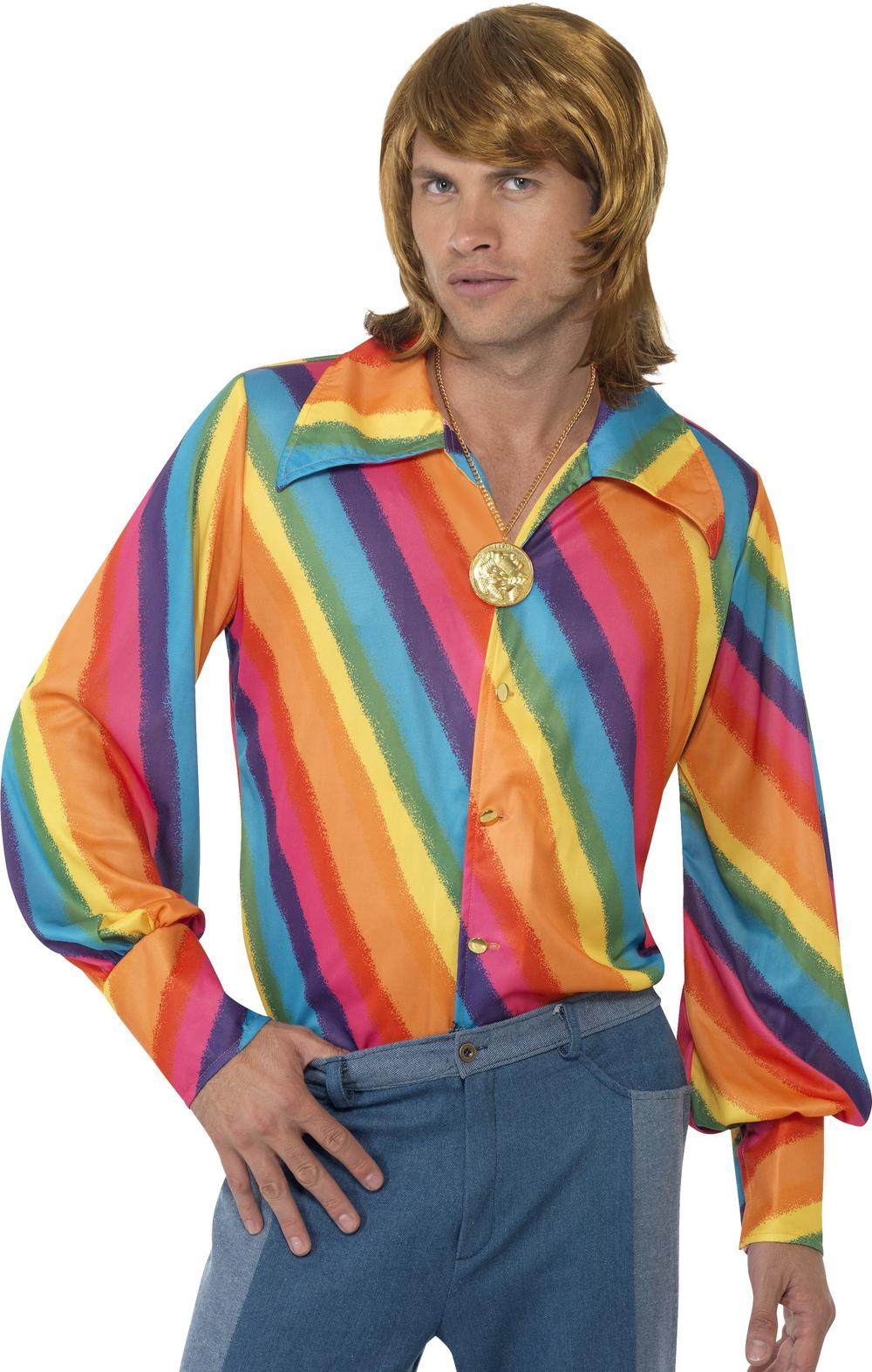 1970s Rainbow Colour Shirt Mens Costume Accessory