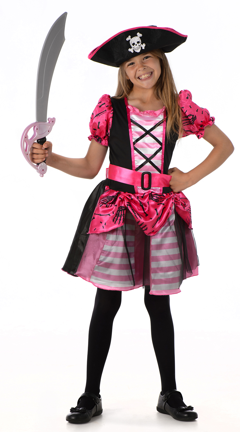 Girls Pirate Costume Kids Caribbean Buccaneer Childs Fancy Dress Outfit Book Day