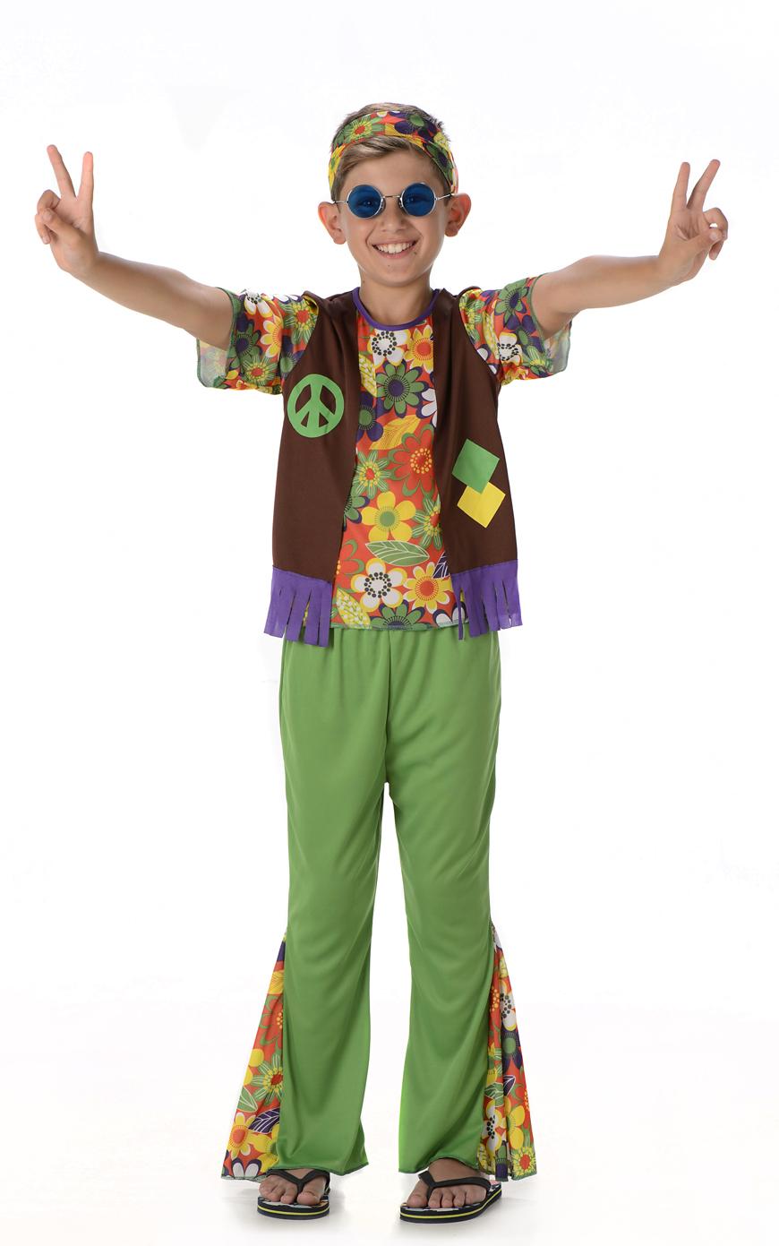 Child HIPPIE DUDE 1960s Medallion Boys Fancy Dress Hippy Kids Costume Age 5-13