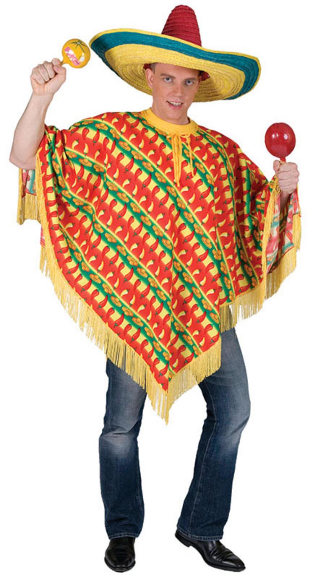 chilli print poncho all mens costumes mega fancy dress