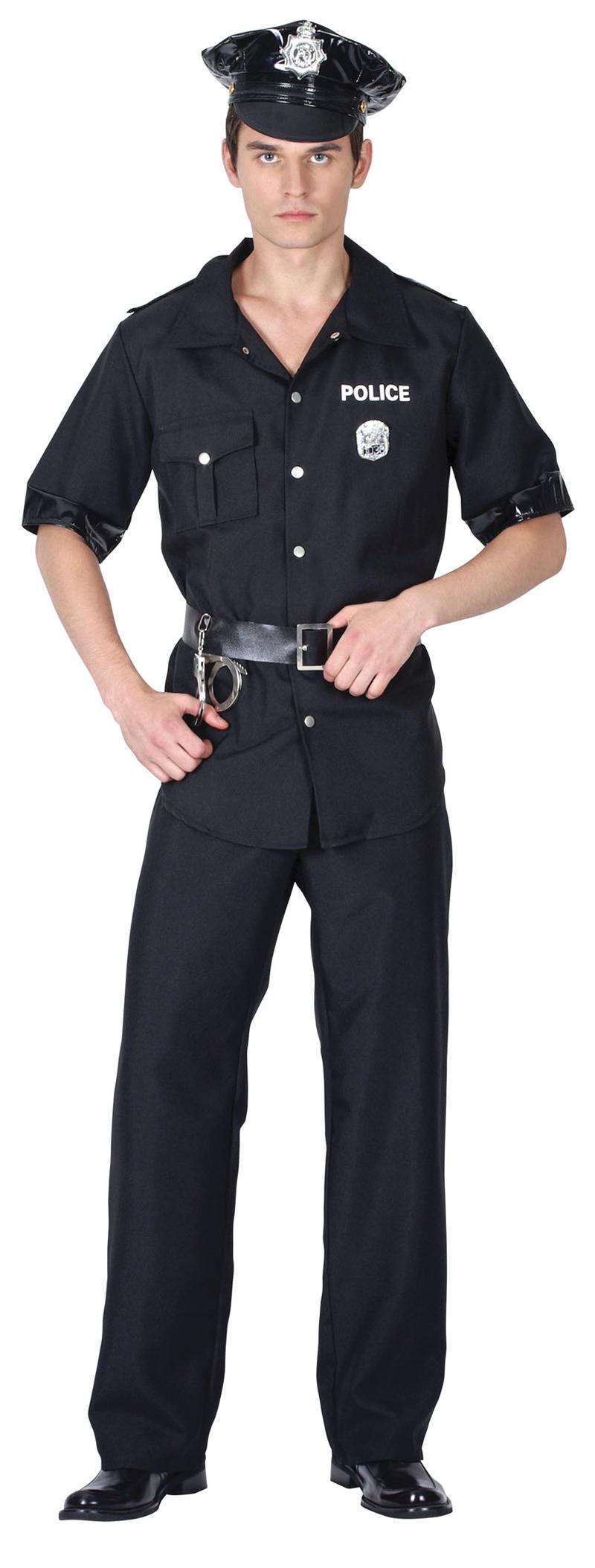 Herren Polizist Uniform Polizeimann US Polizei Man Terminator Kostüm Kostüm Neu