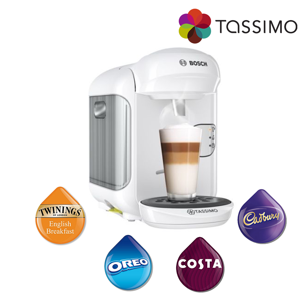 Tassimo TAS1404 Vivy 2 Costa Coffee Hot Drinks Machine White 1300W Bosch