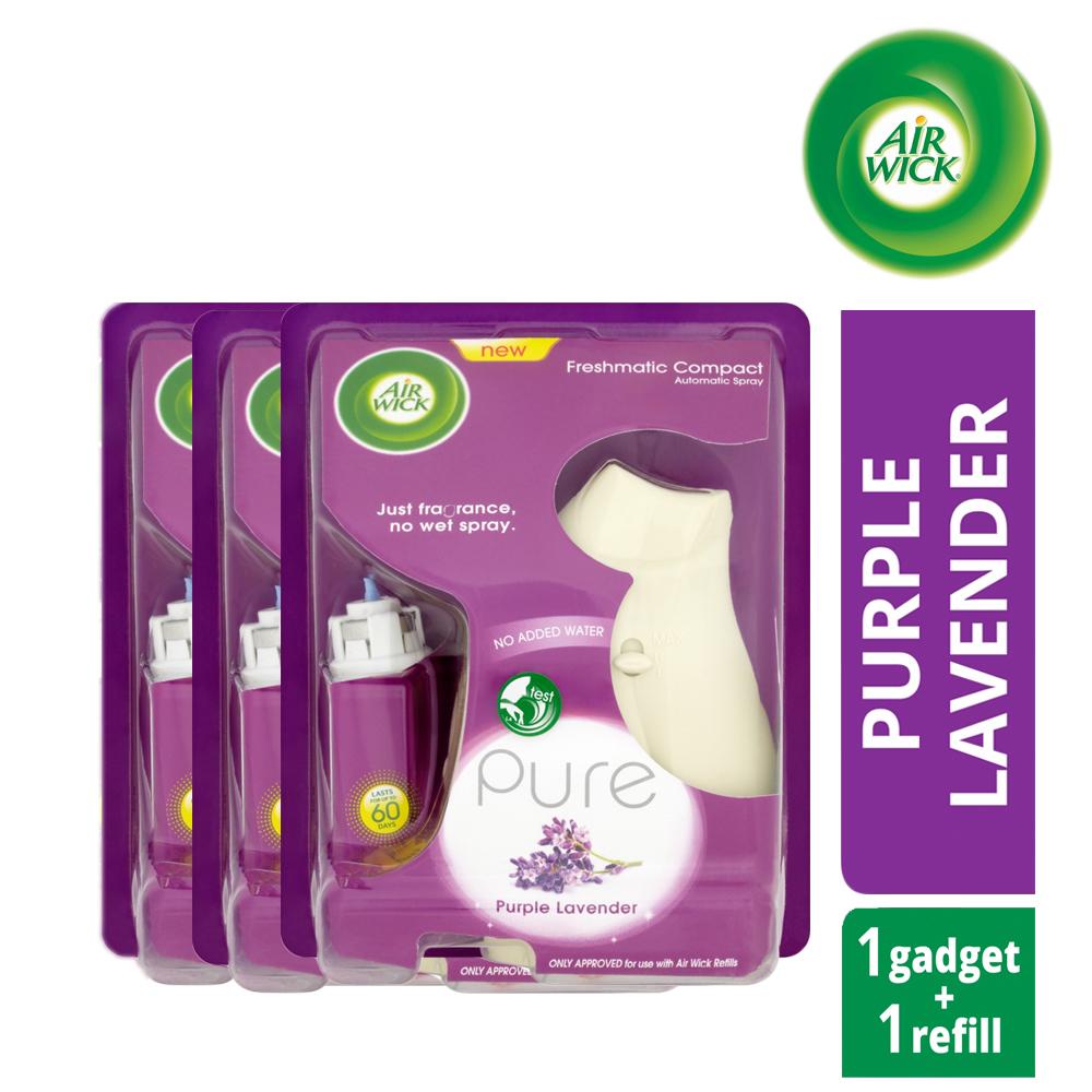 3 X Air Wick Freshmatic Compact Automatic Spray Pure Purple Lavender