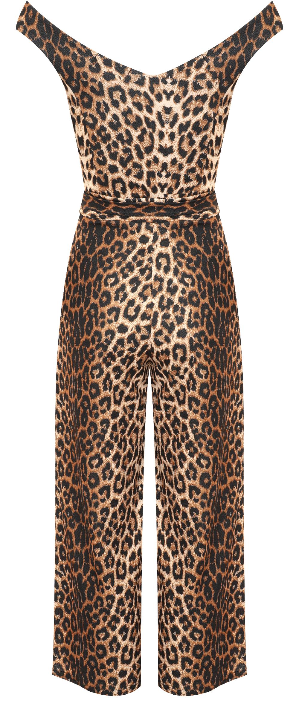 damen weg schulter leopard druck breite bein palazzo jumpsuit hose damen neu ebay. Black Bedroom Furniture Sets. Home Design Ideas