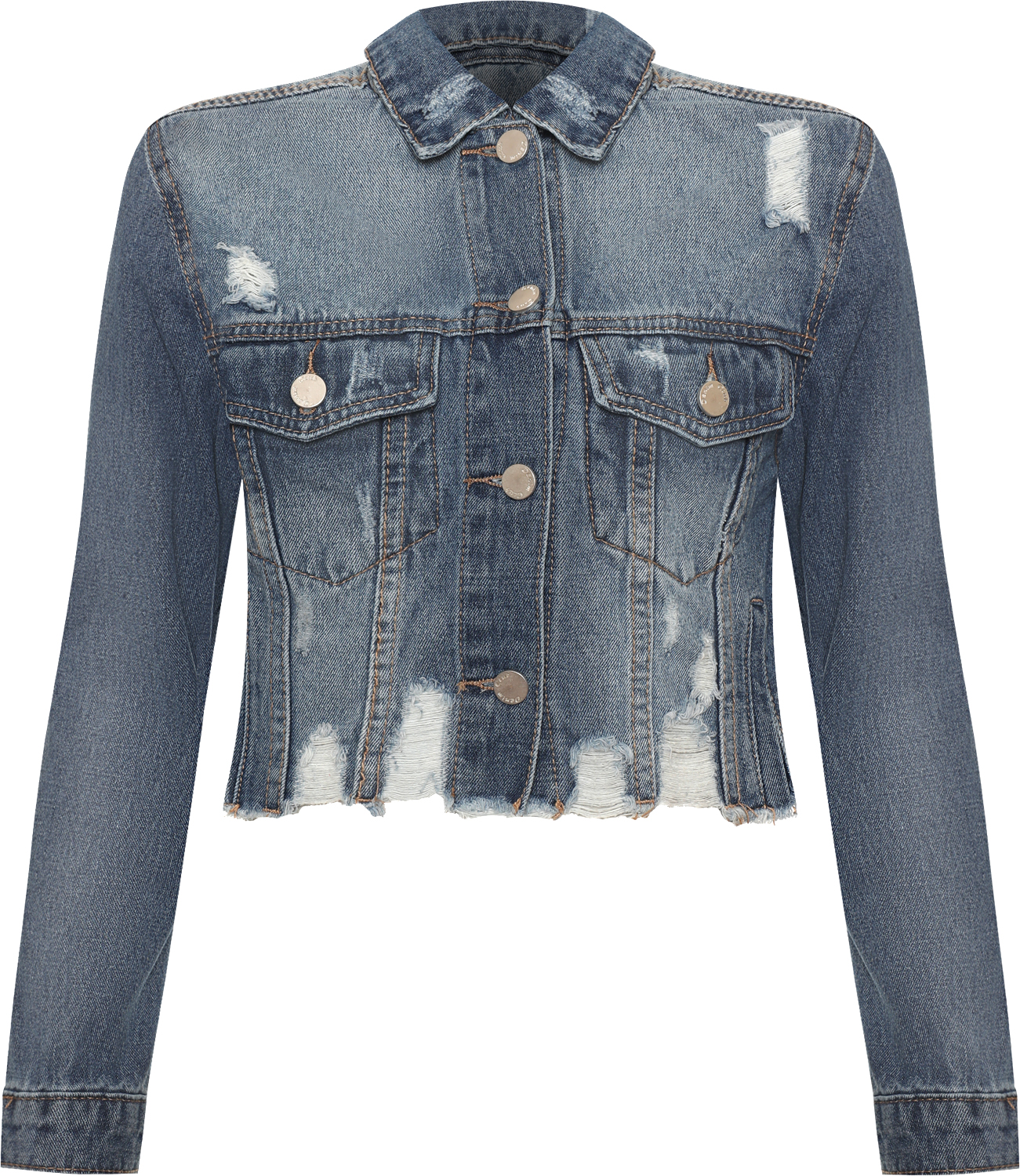 98b5a847fc6 Women s Clothing Women Ripped Distressed Cropped Denim Jacket Ladies Long  Sleeve Pocket Washed