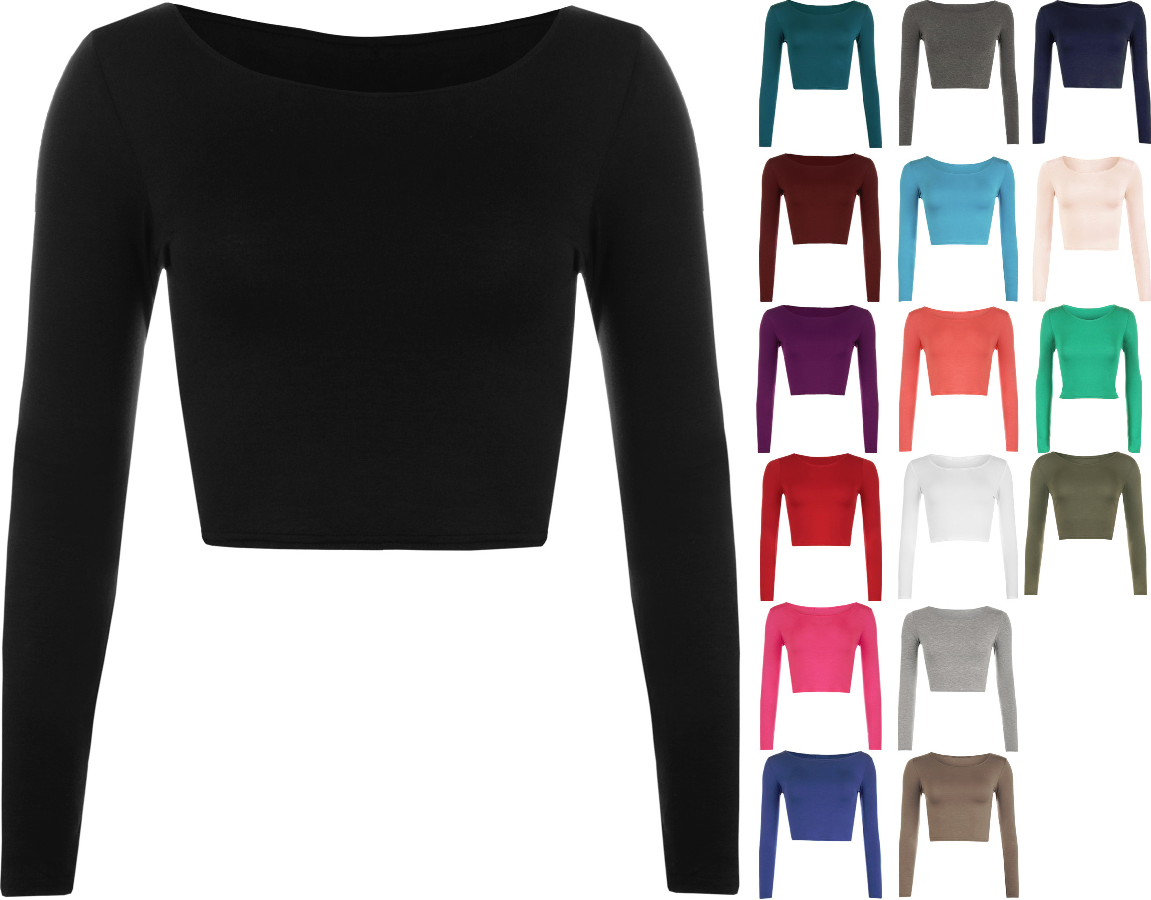 8c4eef51ea7 New Womens Crop Basic Long Sleeve T Shirt Ladies Short Plain Round ...